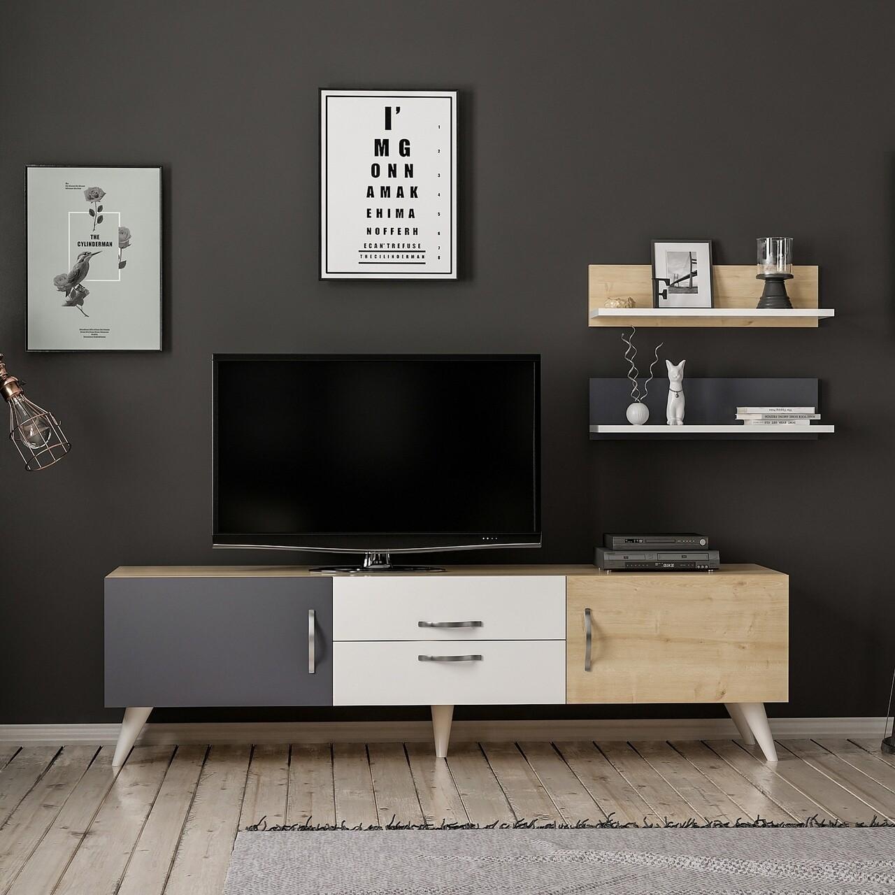 Comoda TV cu raft de perete Only, Maison in Design, 160 x 32 x 45 cm, alb/natural/antracit