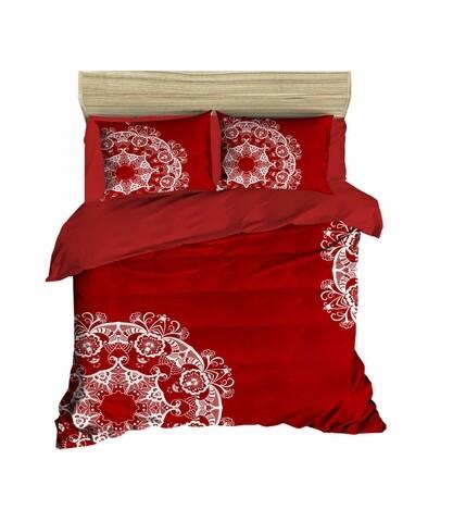 Lenjerie de pat pentru doua persoane, Pearl Home, 421, print 3D, policoton, 4 piese, alb/rosu