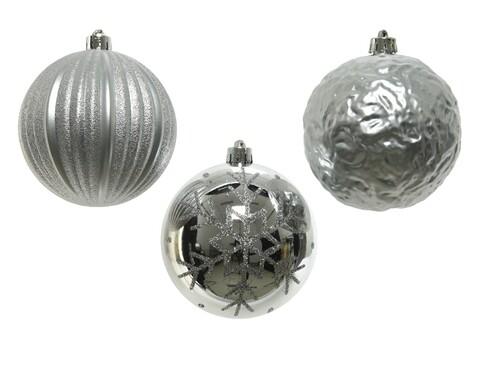 Set 3 globuri asortate, Decoris, plastic, argintiu