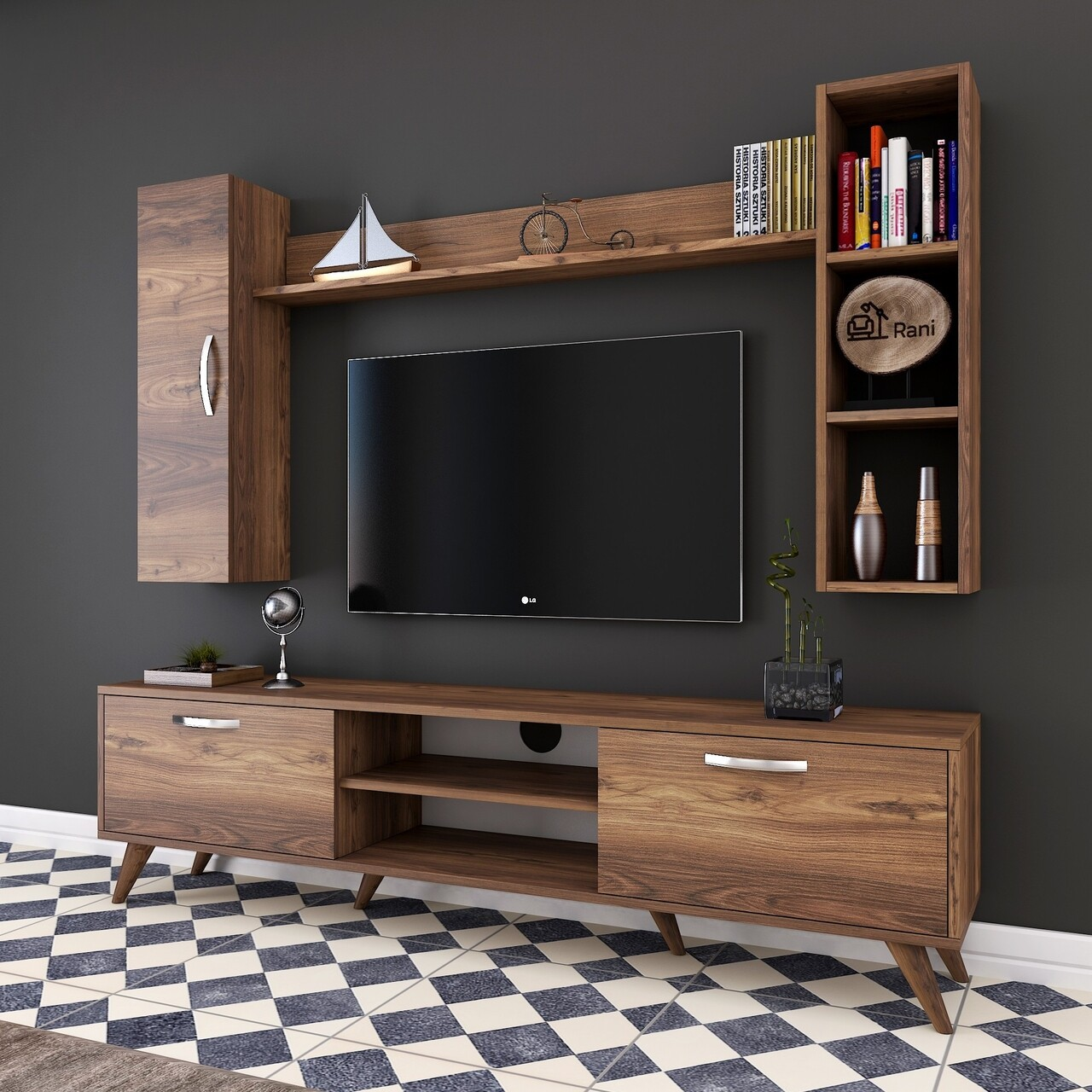 Comoda TV cu 2 rafturi de perete si cabinet M13 - 256, Wren, 180 x 35 x 48.6 cm/90 cm/133 cm, walnut