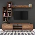 Comoda TV cu 3 rafturi de perete M16 - 262, Wren, 180 x 35 x 48.6 cm/90 cm/133 cm, walnut