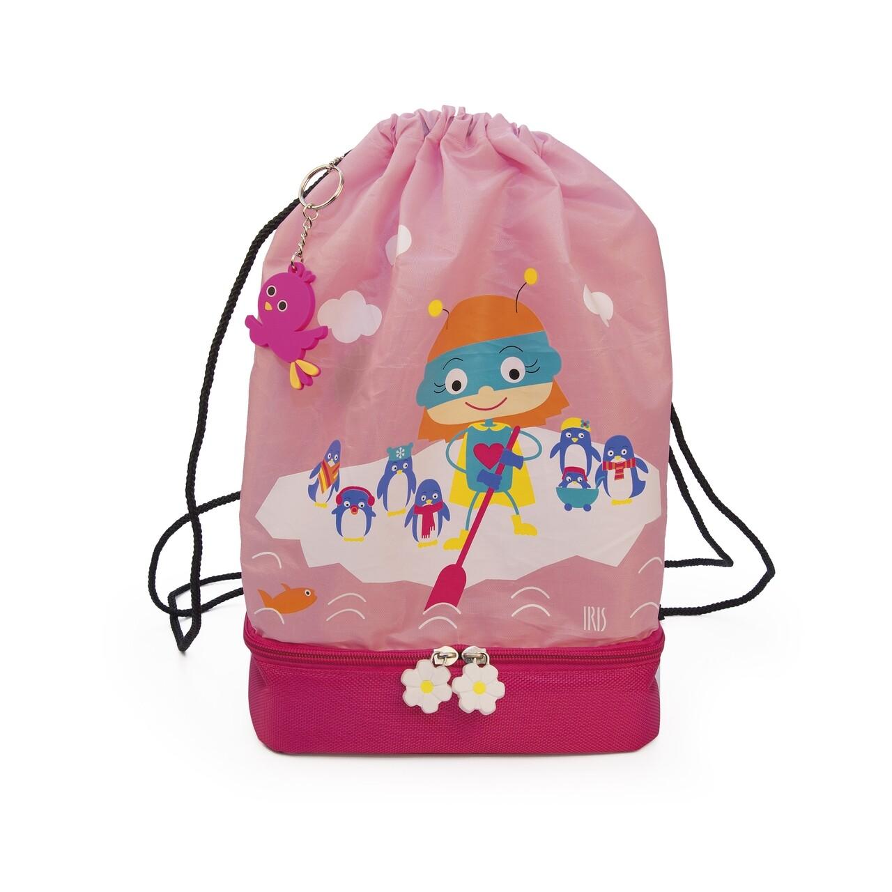 Rucsac pentru copii cu compatiment termoizolant 2in1 SnackRico, Iris Barcelona, 5 L, 21x12x35 cm, roz