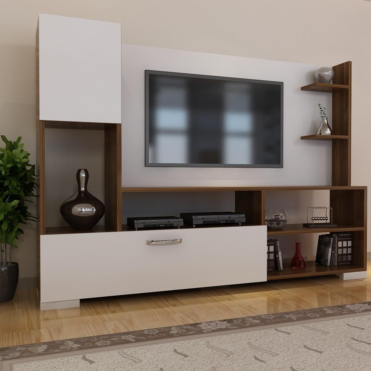 Comoda TV LAVERA, Gauge Concept, 150x30x124 cm, PAL, alb/aluna