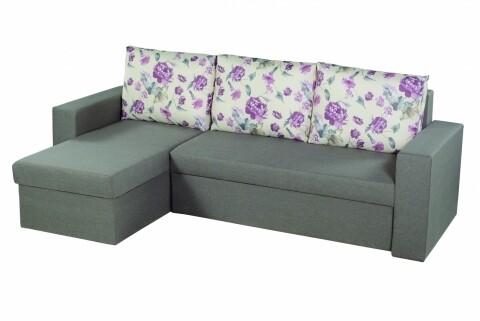 Coltar extensibil Oslo Grey Purple Flower Bedora, cu lada de depozitare, 247x148x78 cm