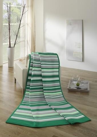 Patura Biederlack Softflor Greenstripe, 150x200 cm, Gri/Verde