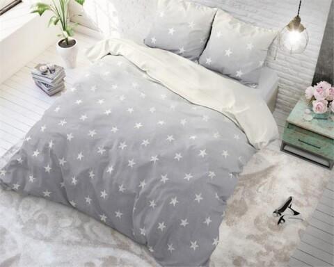 Lenjerie de pat pentru doua persoane Twinkle Stars Grey, Sleeptime, Cotton Blended
