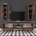 Comoda TV cu 2 cabinete M21 - 272, Wren, 180 x 35 x 48.6 cm/90 cm, walnut