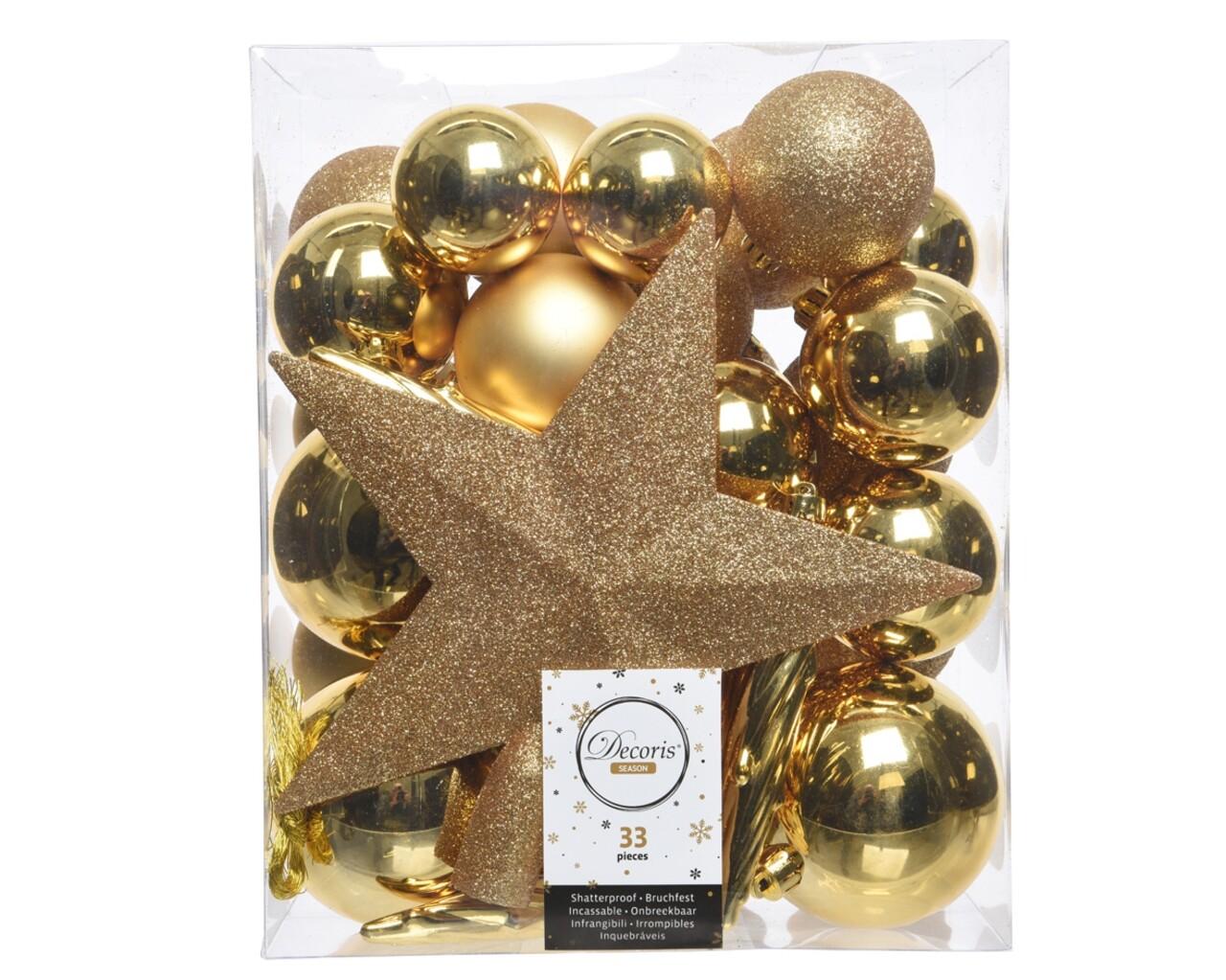 Cutie cu 33 globuri asortate si varf de brad Star, Decoris, plastic, auriu