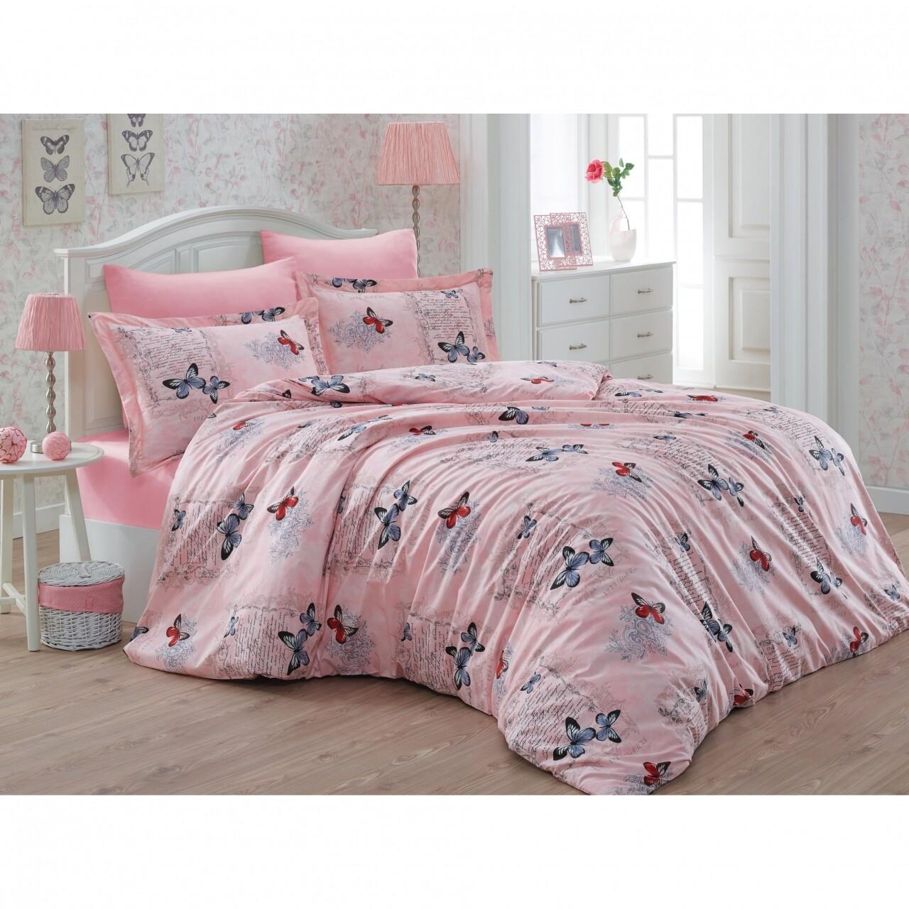 Lenjerie de pat dubla Papillon Bedora, 6 piese, 100% bumbac, roz