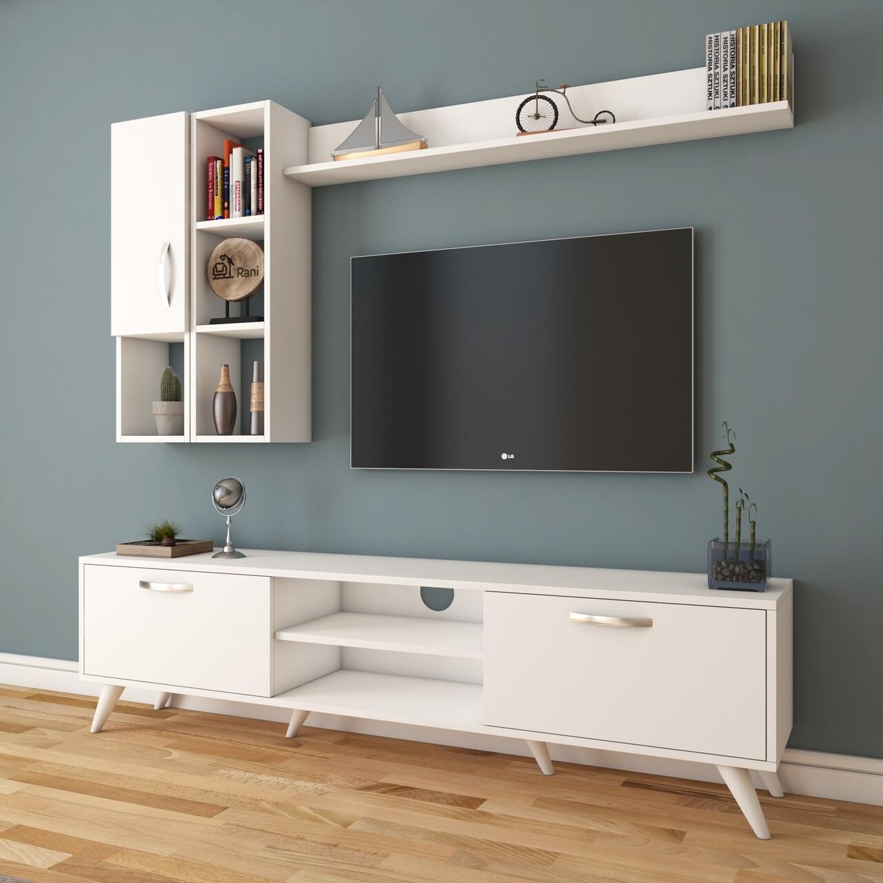 Comoda TV cu 2 rafturi de perete si cabinet M44 - 316, Wren, 180 x 35 x 48.6 cm/90 cm/133 cm, white