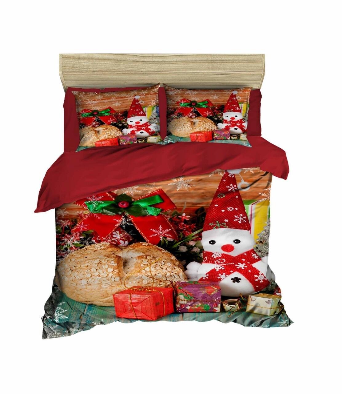 Lenjerie de pat pentru doua persoane, Pearl Home, 410, print 3D, policoton, 4 piese, multicolor