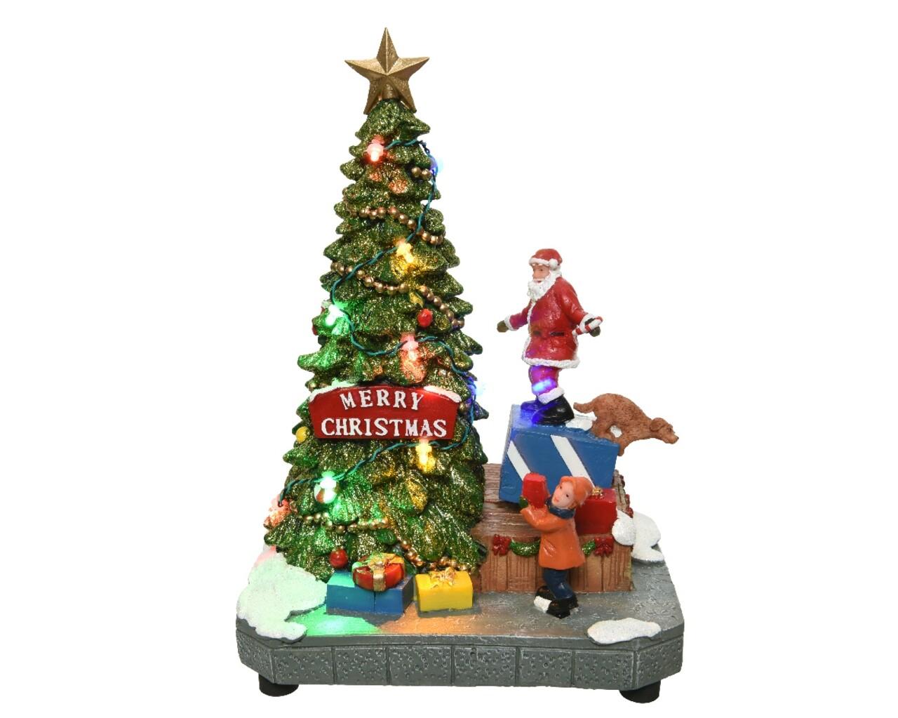 Decoratiune Lumineo, Santa and tree, cu lumini si miscare, pictata manual